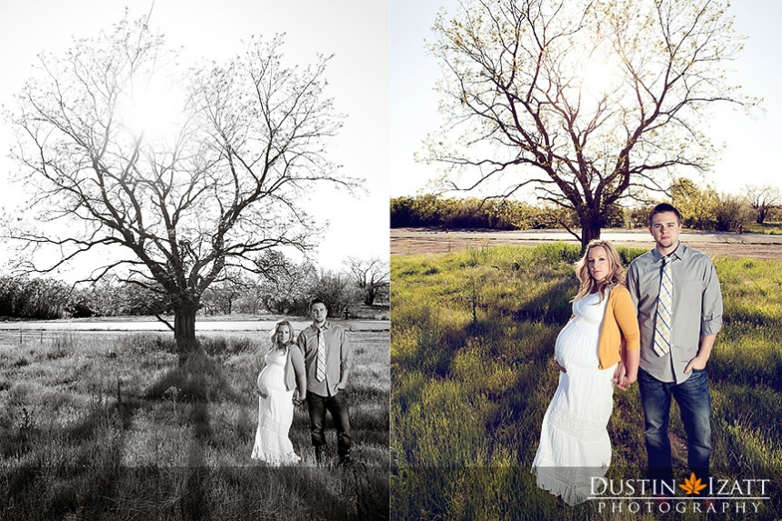Utah Maternity Photography by Photographer Dustin Izatt Trees in Field